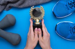 Golden medal fitness award. stock photos