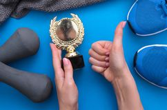 Golden medal fitness award. stock image