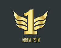 First place symbol. Golden design number one. With wings Royalty Free Stock Image
