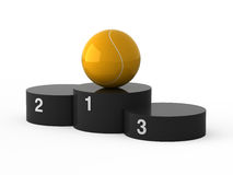 First place. Tennis. Isolated black podium and tennis ball Royalty Free Stock Photos