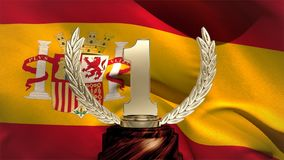 Spanish Flag and trophy. First place trophy against Spanish flag waving in the wind background stock video footage