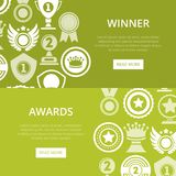 First place victory prize banners. With awards icons. Winner congratulation event, championship awards ceremony vector illustration. Success and leadership, win Royalty Free Stock Photo