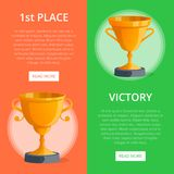First place victory prize banners. With golden goblets. Winner congratulation event, championship awards ceremony vector illustration. Success and leadership Royalty Free Stock Images