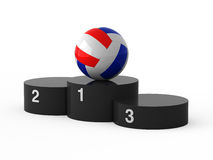 First place. Volleyball. Isolated black podium and volleyball ball Stock Photos