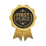First place win gold badges vector illustration.  Stock Photos