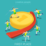 First place win pedestal gold medal flat isometric vector 3d Stock Image