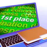 First Place Word Cloud Laptop Shows 1st Winner Reward And Succes Stock Photography