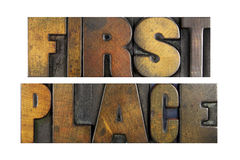 First Place. The words FIRST PLACE written in vintage letterpress type Royalty Free Stock Photo