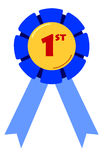 First Placing Ribbon. Blue ribbon for first place in competitions Royalty Free Stock Photography