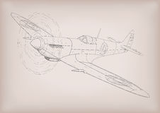 The first plane spyfire construction graphic drawing in black li Royalty Free Stock Photo