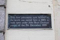 First Pneumatic Tyre Factory in the World. Dublin, Republic of Ireland - August 13th 2018: A plaque on Upper Stephen Street in the city of Dublin, marking the royalty free stock image