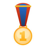 First position award medal vector. Vectored illustration of best performance gold medal Royalty Free Stock Images