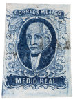 First Postage Stamp of Mexico - 1856 Miguel Hidalgo. Authentic first stamp of Mexico, 1856 1/2 real blue Miguel Hidalgo with light cancellation, hand cut (uneven Royalty Free Stock Photo