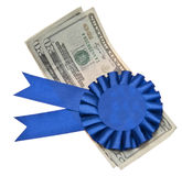 First Prize. A blue ribbon is a symbol for success and first prize stock photo