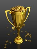 First prize. 3D render of trophy cup full of money on black background Royalty Free Stock Photography