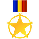 First Prize. Badge With Romanian Flag (Or The Three Main Colors: Red, Yellow And Blue) Isolated On White Stock Photos