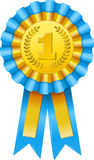 First prize award icon. Blue and gold ribbon rosette Royalty Free Stock Images