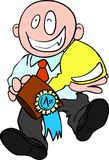 First prize for businessman. Cartoon-like illustration of businessman awarded for his work Stock Photography