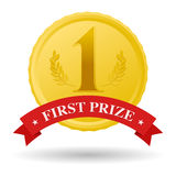 First prize. Gold medal and red banner Royalty Free Stock Photo