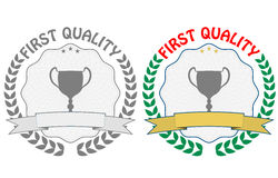 First quality badge. Illustration of first quality badge, grey and color Stock Photos