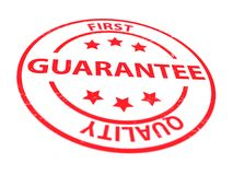 First quality guarantee. Red text graphic first quality guarantee in concentric red circles with stars Royalty Free Stock Photography