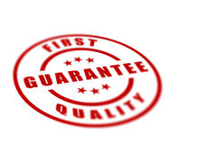 First Quality Label. First quality red label isolated over a white background Royalty Free Stock Photo