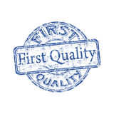 First quality rubber stamp. Blue grunge rubber stamp with the text first quality written inside the stamp Stock Photos