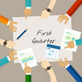 First quarter business report target corporate financial result. Vector Stock Photography