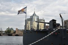 The aft gun of the Cruiser Aurora, the Flagship of the Russian Navy. The first rank cruiser Aurora is the ship number one in the Russian Navy Stock Photos
