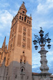 First rays of Sun on the Giralda Tower Royalty Free Stock Images