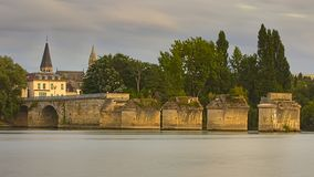 The first remaining arches of the Old Bridge of Poissy, France royalty free stock images