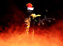 First responder. In flames with hand out royalty free illustration