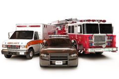 First responder vehicles. Ambulance,police and fire truck on a white background Stock Photos