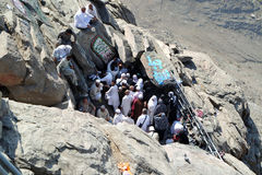 The first revelation came to the cave where the prophet Muhammad. MECCA, SAUDI ARABIA - FEBRUARY 3 : Muslims awaiting their turn to perform prayers at the cave Stock Images
