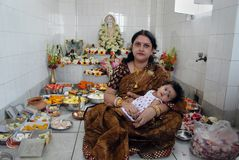 First rice-eating ceremony in India Stock Images