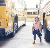 First ride on school bus stock photography