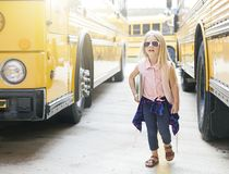 First ride on school bus royalty free stock image