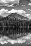 The First Rise on a Tranquil Lake BW Stock Photos