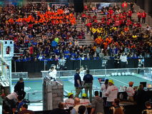 The 2016 FIRST® Robotics Competition 1. New York City FIRST® (For Inspiration and Recognition of Science and Technology) along with over 200 robotics teams stock photo