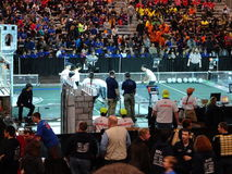 The 2016 FIRST® Robotics Competition 3. New York City FIRST® (For Inspiration and Recognition of Science and Technology) along with over 200 robotics teams royalty free stock photo