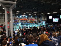 The 2016 FIRST® Robotics Competition 6. New York City FIRST® (For Inspiration and Recognition of Science and Technology) along with over 200 robotics teams royalty free stock photo