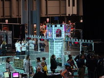 The 2016 FIRST® Robotics Competition 7. New York City FIRST® (For Inspiration and Recognition of Science and Technology) along with over 200 robotics teams stock photo