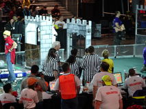 The 2016 FIRST® Robotics Competition 35. New York City FIRST® (For Inspiration and Recognition of Science and Technology) along with over 200 robotics stock image