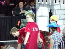 The 2016 FIRST® Robotics Competition 38. New York City FIRST® (For Inspiration and Recognition of Science and Technology) along with over 200 robotics royalty free stock image