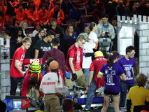 The 2016 FIRST® Robotics Competition 45. New York City FIRST® (For Inspiration and Recognition of Science and Technology) along with over 200 robotics royalty free stock photo
