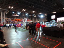 The 2016 FIRST® Robotics Competition 48. New York City FIRST® (For Inspiration and Recognition of Science and Technology) along with over 200 robotics stock image