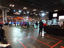 The 2016 FIRST® Robotics Competition 51. New York City FIRST® (For Inspiration and Recognition of Science and Technology) along with over 200 robotics royalty free stock photography