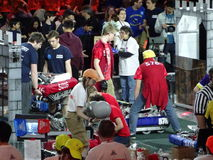 The 2016 FIRST® Robotics Competition 52. New York City FIRST® (For Inspiration and Recognition of Science and Technology) along with over 200 robotics royalty free stock photography