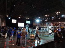 The 2016 FIRST® Robotics Competition 61. New York City FIRST® (For Inspiration and Recognition of Science and Technology) along with over 200 robotics royalty free stock photo