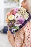 First romantic date bouquet delicate flowers royalty free stock photo